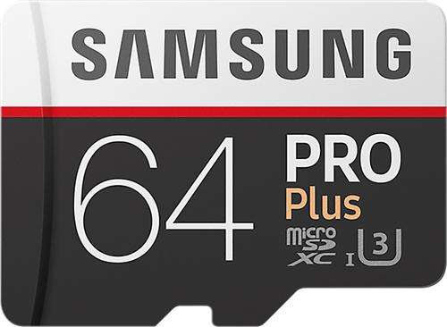 Samsung Pro + 64 GB micro SD class 10 - met adapter R100MBs/ W90