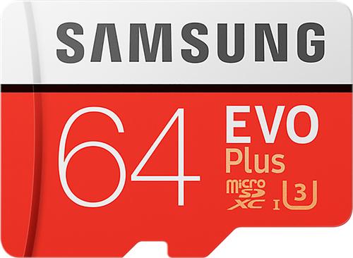 Samsung Evo + 64 GB micro SD class 10 - met adapter R100MBs/ W60
