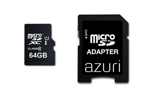Azuri 64GB micro SDXC card class 10 - 90MB/s met SD-adapter