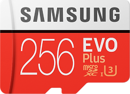 Samsung Evo + 256 GB micro SD class 10 - met adapter R100MBs/ W90