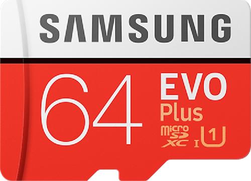 Samsung Evo + 64 GB micro SD class 10 - met adapter R100MBs/ W30