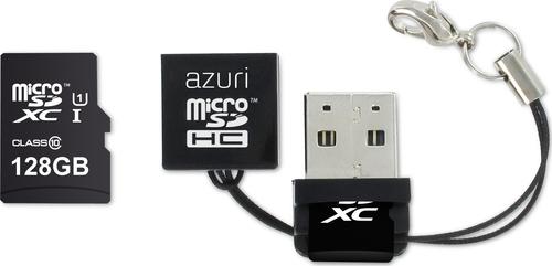 Azuri 128GB micro SDXC card class 10 - 90MB/s met USB reader