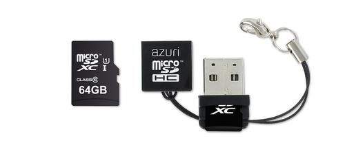 Azuri 64GB micro SDXC card class 10 - 90MB/s met USB reader