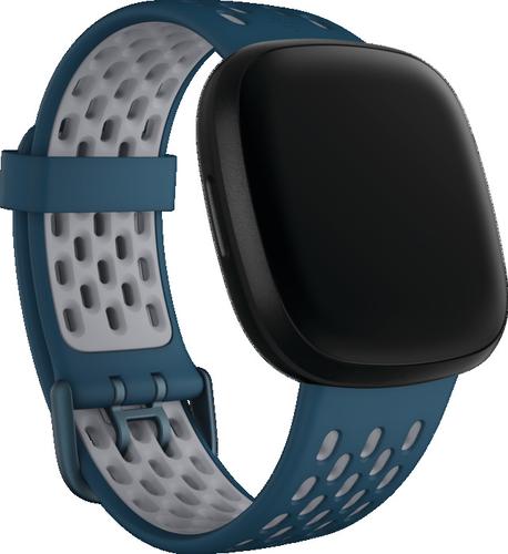 Fitbit Versa 3/Sense - Sport Band - Saffier/mistgrijs - large