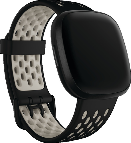 Fitbit Versa 3/Sense -  Sport Band - Zwart/Ivoorwit - small