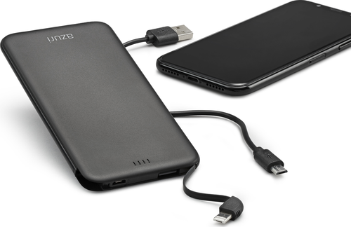 Azuri slim batterypack for microUSB, USB-C and lightning devices-4000 mAh-zwart